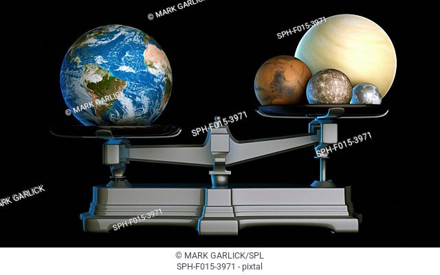 Earth's mass. Illustration of the terrestrial or rocky planets of the Solar System on a weighing scale, with Earth outweighing all the other rocky planets and...