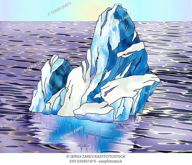 Digital Painting, Illustration of a lonely Iceberg swimming in a ocean. Cartoon Style Character, Fairy Tale Story Background