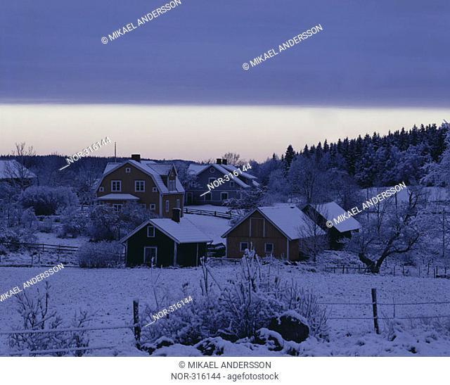 A snowy village at Ostergotland, Sweden