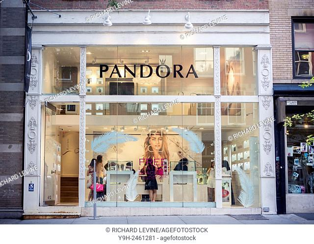 A store of the Pandora chain of jewelry stores in Soho in New York