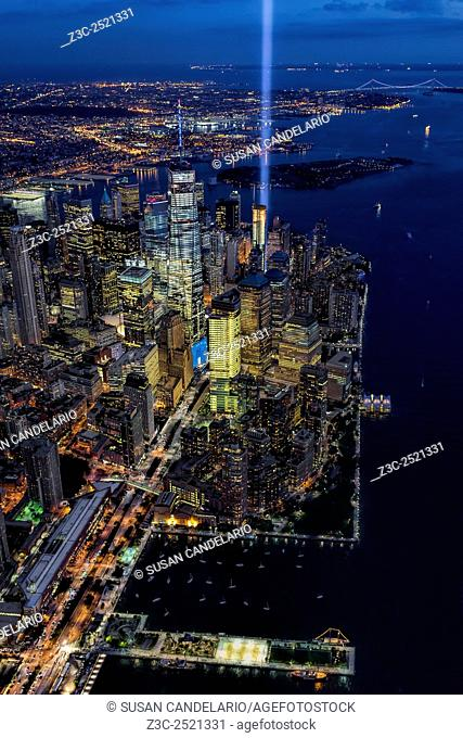 New York City Remembers 9-11 - Aerial view of the Tribute In Lights Memorial on the14th anniversary of the terror attacks of 911 in NYC