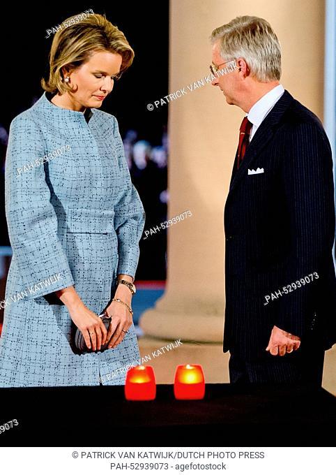 King Philippe and Queen Mathilde of Belgium attend a First World War commemoration, in Ploegsteert, Belgium, 17 October 2014