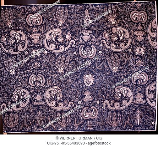 Detail of a batik kain panjang, a cloth worn about the hips, with a design incorporating flowers and snake like Nagas