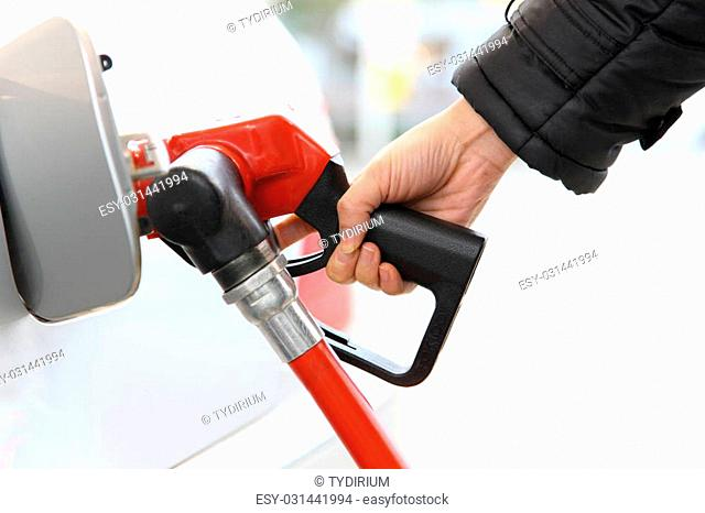 close up shot of filling gas at gas station