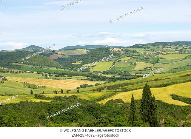 View of the Val d'Orcia near Pienza in Tuscany, Italy