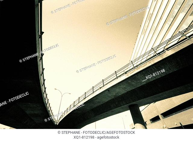 Road overpass, in Chamartín, Madrid, Spain