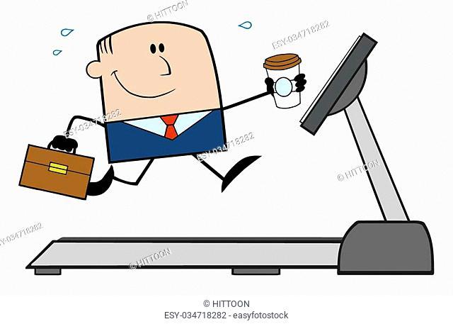 Happy Businessman Cartoon Character Running On A Treadmill