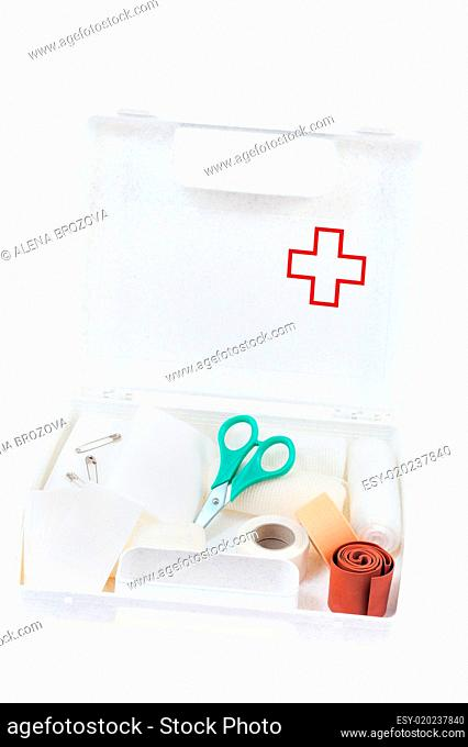 Open first aid kit isolated on white background
