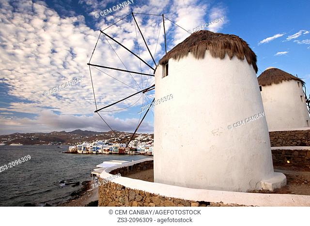 View of the main town Chora with traditional windmills in the foreground, Little Venice district, Mykonos, Cyclades Islands, Greek Islands, Greece, Europe