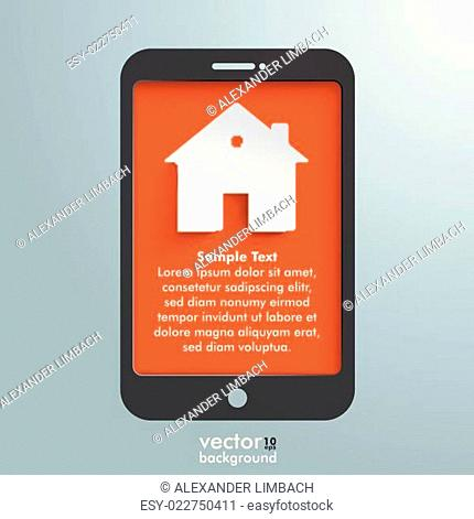 Silver Background Smartphone House