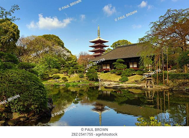 Pagoda and oriental garden at Senso-Ji Temple in Asakusa in Tokyo, Japan