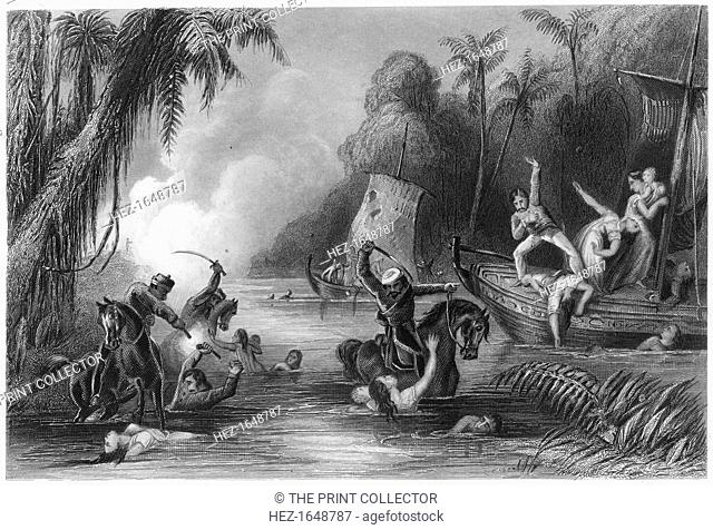 'Massacre in the boats off Cawnpore', 1857, (c1860). Massacre of British civilians in what is now known as Kanpur, India