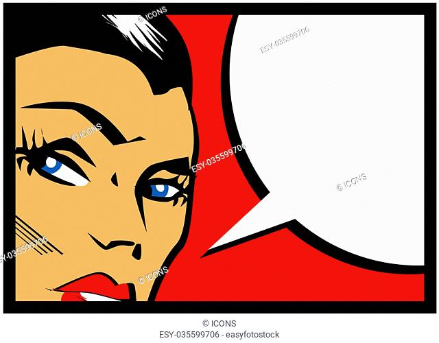 Vector comic woman with speech bubble