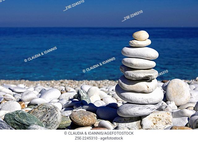Balancing stones on pebble beach - Pelion Peninsula, Thessaly, Greece