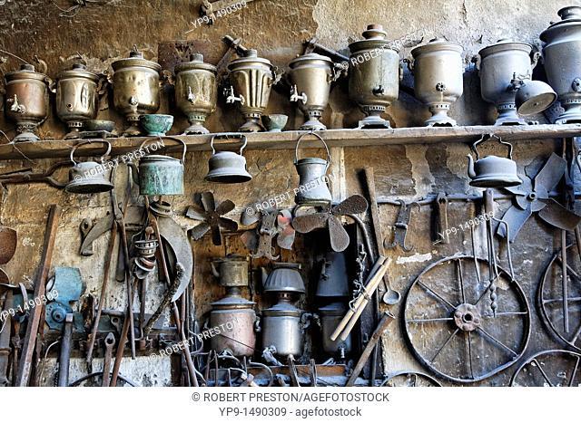 Azerbaijan - Lahic village - inside a copper workshop