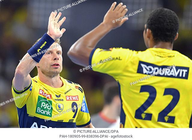 05 September 2018, Germany, Mannheim: Handball, Bundesliga, Rhein-Neckar Loewen vs MT Melsungen, Matchday 3, in the SAP Arena