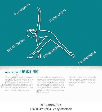 Yoga pose flat line icon, vector design of advertising booklet mockup - woman in triangle pose, white outline logo with side shadow