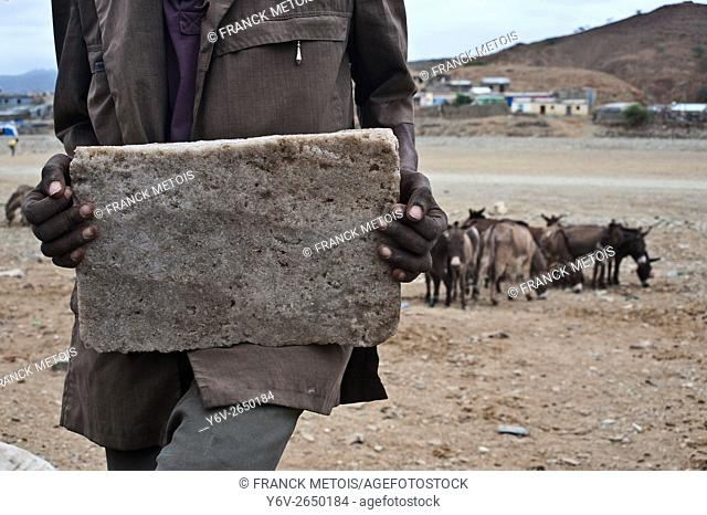 "Man holding a block of salt called """"amolé"""" . At Berahile ( Afar state, Ethiopia)"
