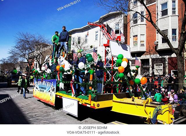 Ironworkers Float, St. Patrick's Day Parade, 2014, South Boston, Massachusetts, USA