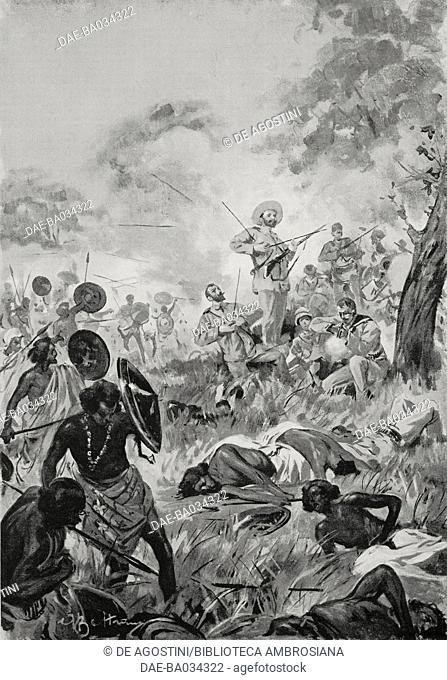 Massacre in Mogadishu, Somalia, drawing by Achille Beltrame (1871-1945), from L'Illustrazione Italiana, Year XXIV, No 1, January 3, 1897