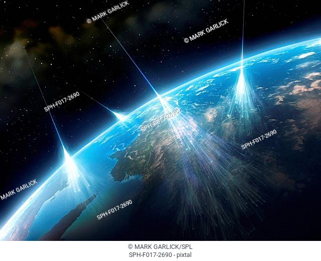 Cosmic rays. Artwork of high-energy particles and radiation from a star in deep space (cosmic rays) impacting molecules and atoms in the Earth's atmosphere