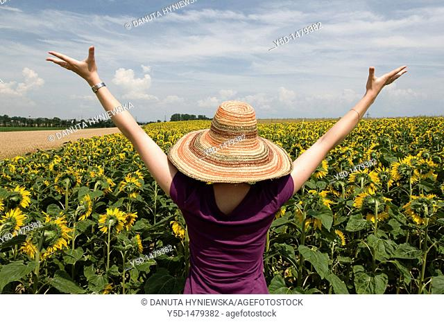 young women in hat with hands up enjoying being in the field of sunflowers, summer, Switzerland