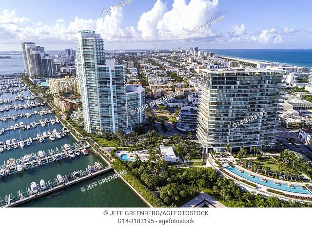 Florida, Miami Beach, South Pointe, aerial overhead bird's eye view above, Apogee Condominium, Murano At Portofino, high rise condominium buildings
