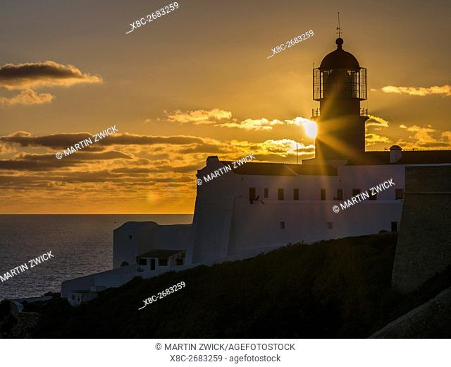Cabo de Sao Vincente (Cape St. Vincent) with its lighthouse at the rocky coast of the Algarve in Portugal. Europe, Southern Europe, Portugal, March