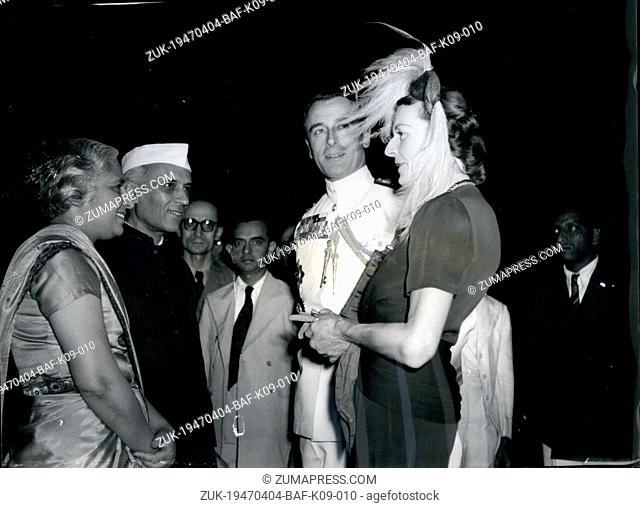 Apr. 04, 1947 - New Indian viceroy gives Reception to delegates : The new viceroy of India, lord Louis Mountbatten, accompanied by lady Mountbatten recently...
