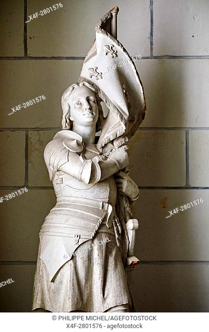 France, Indre-et-Loire (37), Loches, St-Ours church, collegiate Notre Dame, statue of Jeanne d'Arc