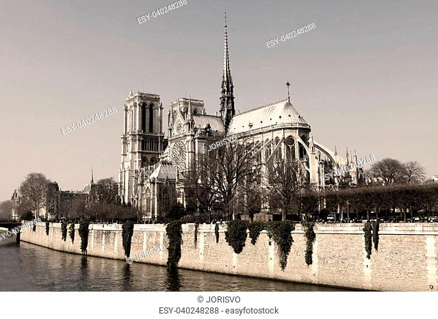 Notre Dame cathedral in the center of Paris, France (sepia image)
