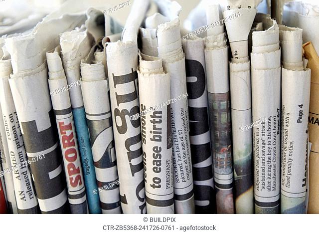 Newspapers ready for recycling