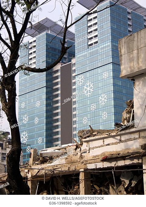 Old being demolished and new buildings contrast in Ho Chi Minh City, Vietnam