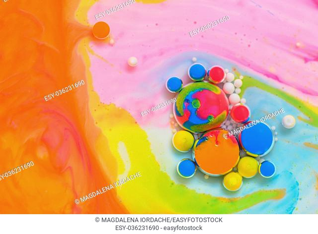 Macro colors created by oil and paint