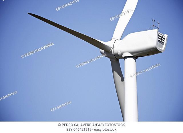 Windmill for electric power production, Pozuelo de Aragon, Zaragoza, Aragon, Spain
