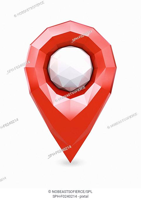 Red low poly GPS location marker pin isolated on white, illustration