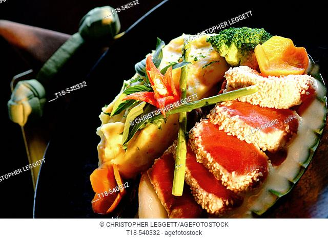 prepared raw tuna with vegetables