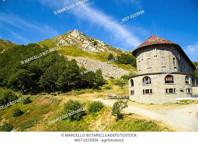 italian restaurant on Gomito mountain, mountains of abetone, pistoia, tuscany, italy, in summer