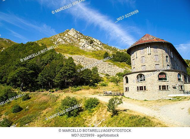 italian restaurant on Gomito mountain, mountains of abetone, pistoia, tuscany, italy, in summer
