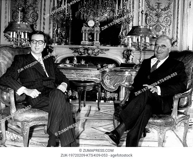 Feb. 9, 1972 - Paris, France - President of the French Republic GEORGES POMPIDOU in a meeting with the 22nd Premier of Quebec, ROBERT BOURASSA