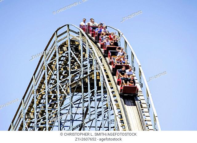People having fun on a Rollercoaster at one of the Theme Parks in the Wisconsin Dells WI
