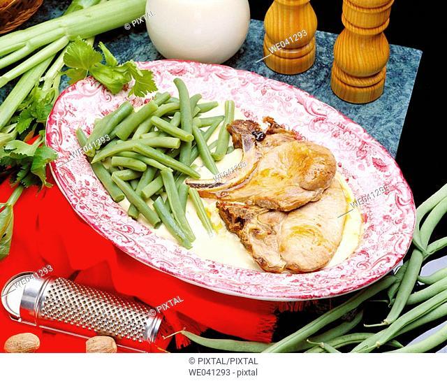 Pork chops with celery cream