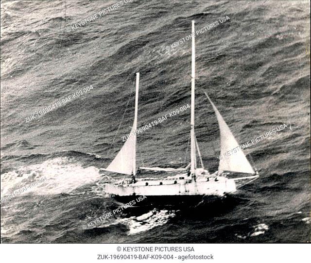 Apr. 19, 1969 - Robin The Lone Round-The-World Yachtsman Neard his Journey's End - Lanc Round-the-world yachtaman, Robin Knox-Johnston