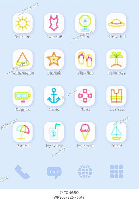 Set of various icons rellated to summer vacation