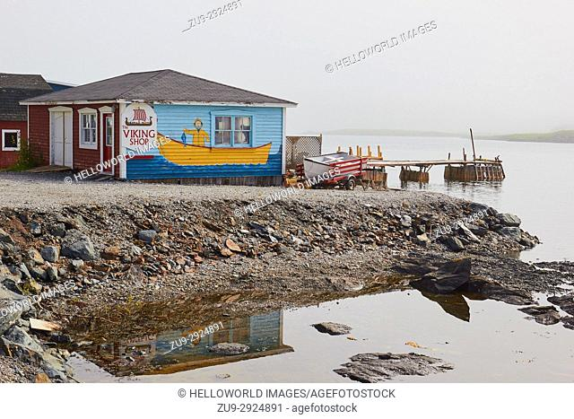 Viking shop, St. Lunaire-Griquet at the northern tip of the Great Northern Peninsula, Newfoundland, Canada. . Sell sculptures made from whalebone and moose...