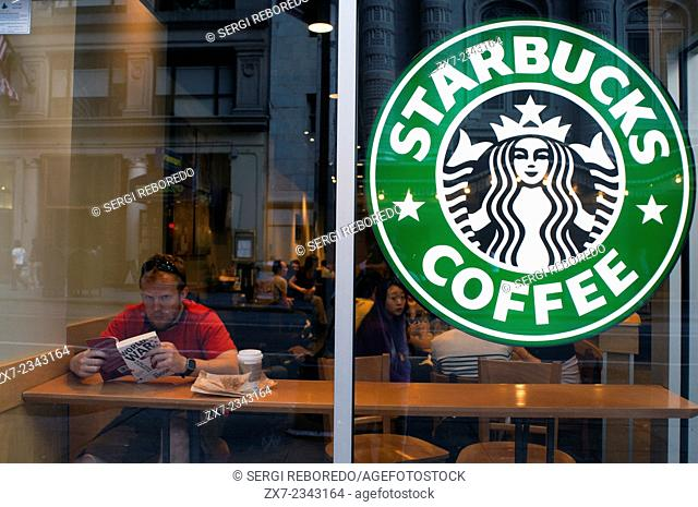 Starbucks Coffee Manhattan New York City USA. On this day last year, I sat down at the Starbucks on 52nd street and 8th avenue and committed to a rather odd new...