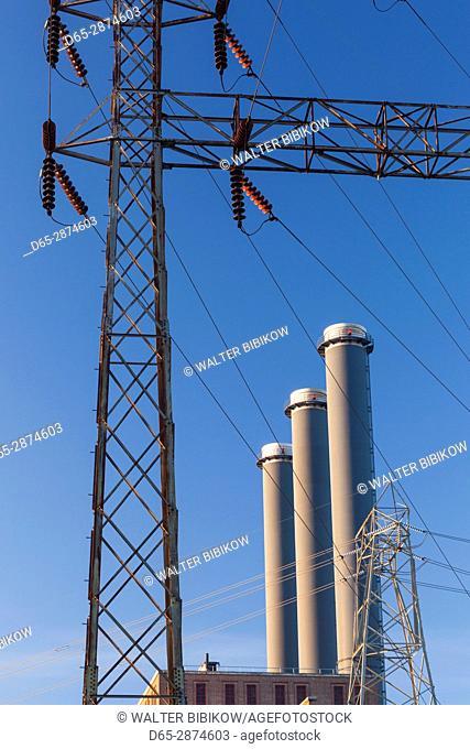 USA, Rhode Island, Providence, power plant smokestacks, dawn