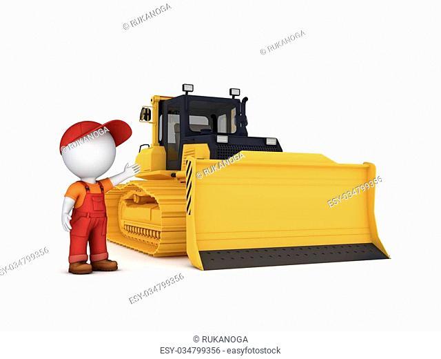 Bulldozer. Isolated on white background 3d rendered illustration