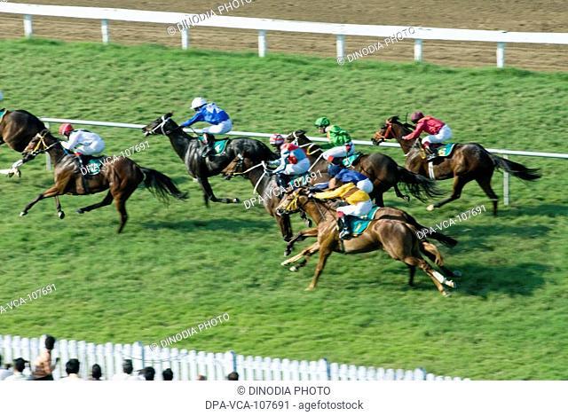 Poonawalla Horse Race at Mahalaxmi Race course ; Bombay Mumbai ; Maharashtra ; India