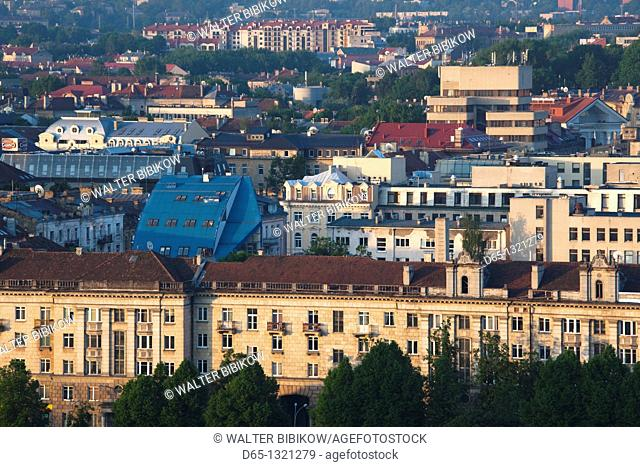 Lithuania, Vilnius, elevated city view from Snipiskes, morning